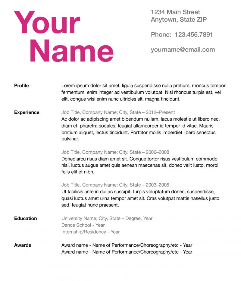 how to create a fierce and effective dance resume